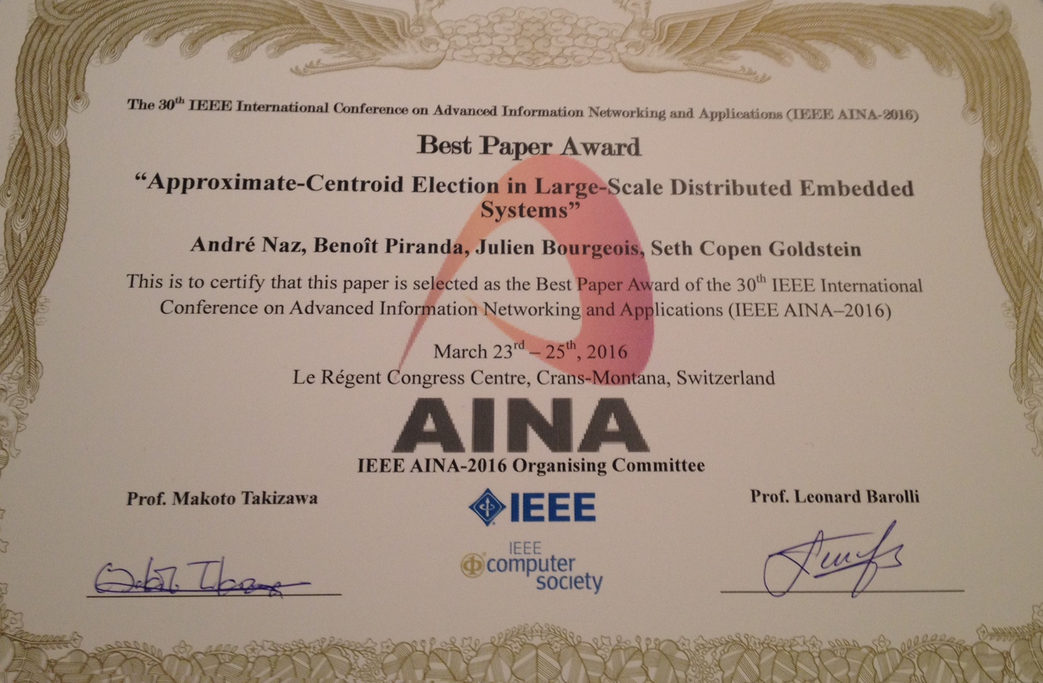AINA 2016 Best Paper Award